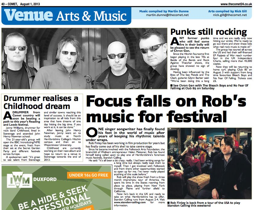 Article about Rob in The Comet newspaper