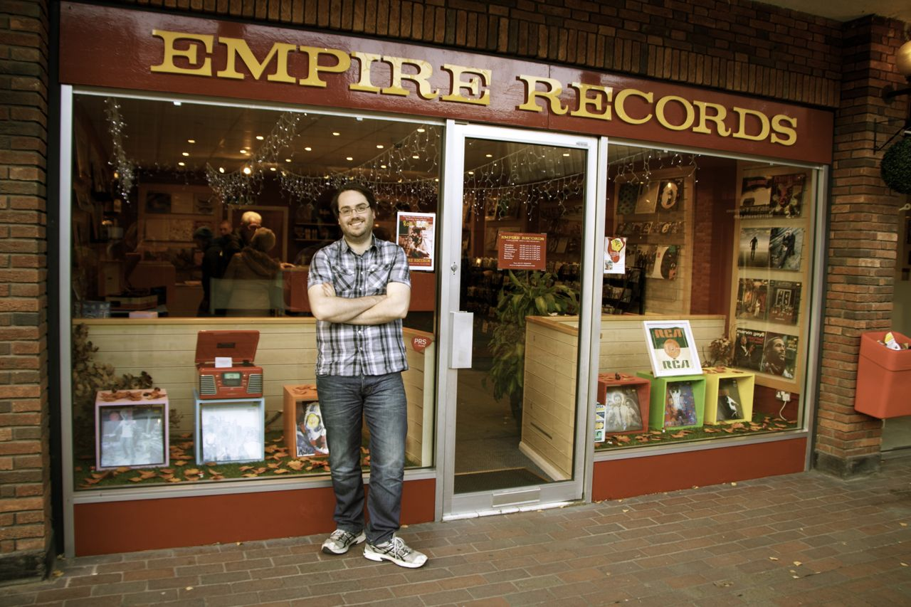 Rob Finlay standing outside in Empire Records St Albans