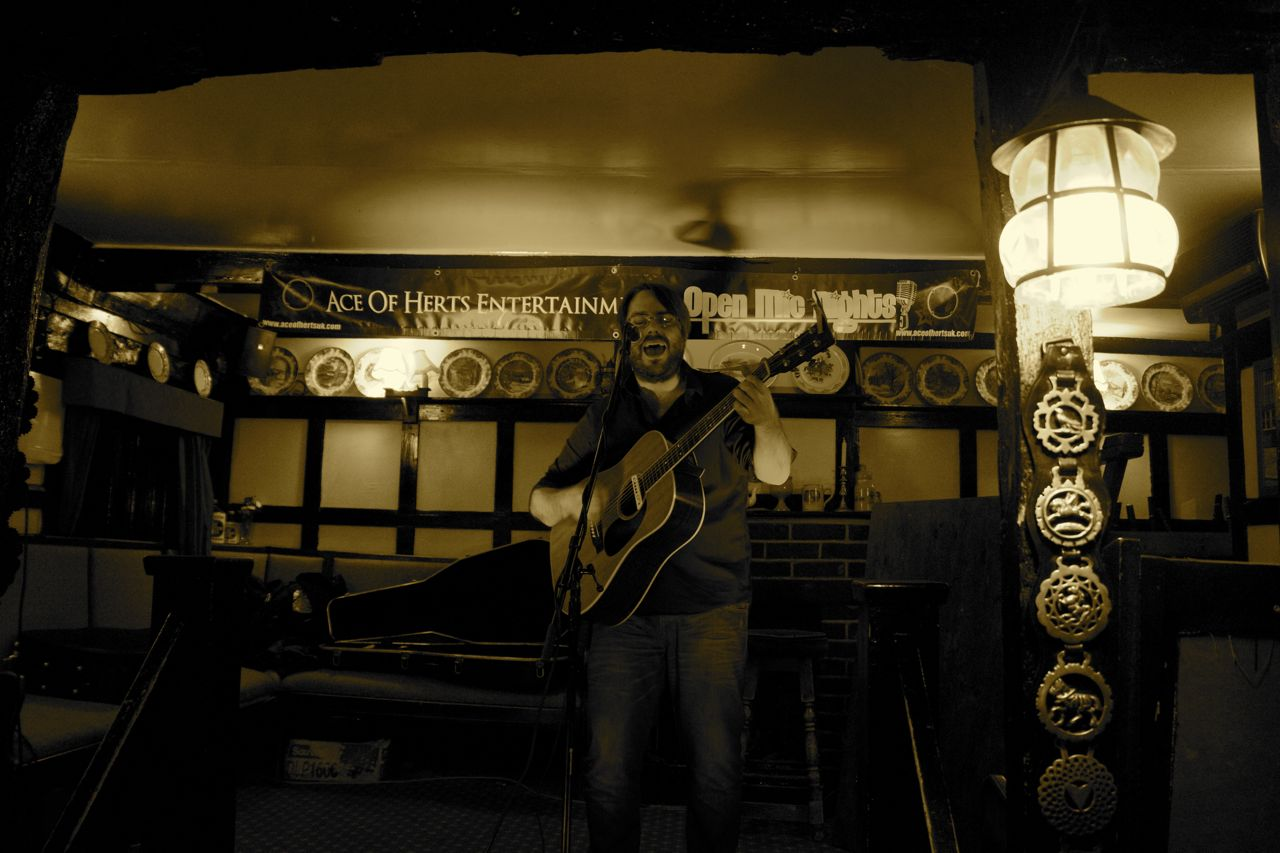 Rob Finlay on stage at the Goat Inn pub