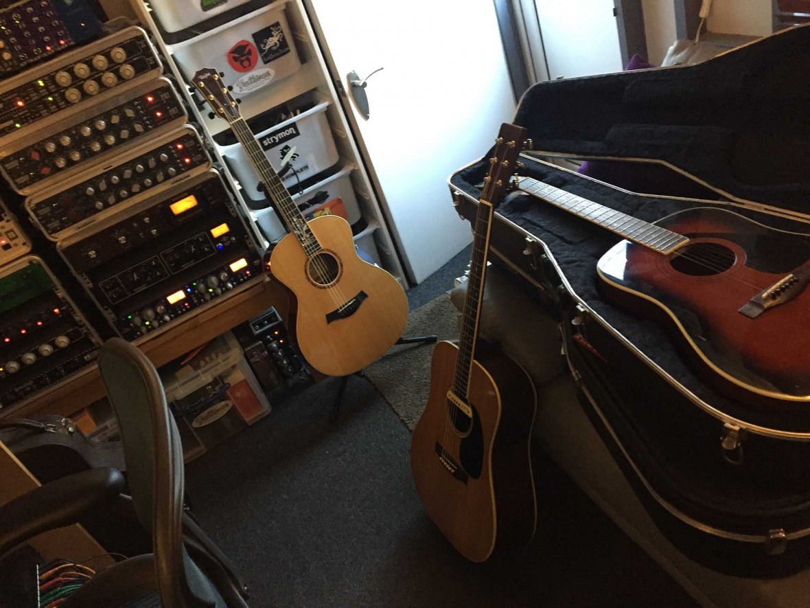 Guitars in Adrian Halls sound studio