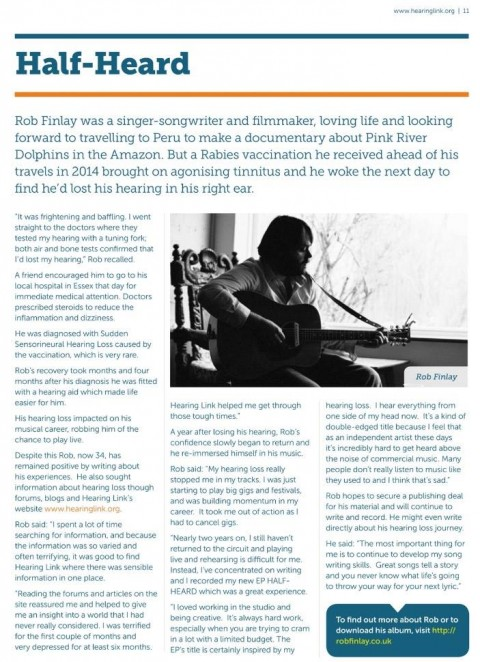 Hearing Link Article about Rob Finlay's EP HEALF_HEARD