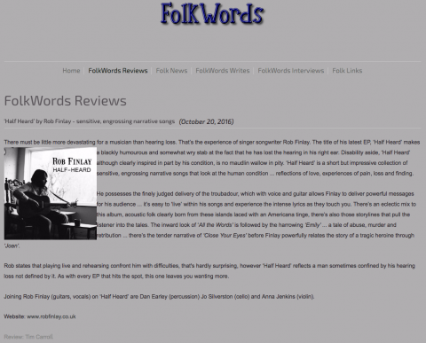 Screen shot from FolkWords.com blog